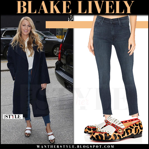 Blake Lively in blue coat, skinny jeans and leopard print christian louboutin octavian embellished loafers what she wore streetstyle 2017