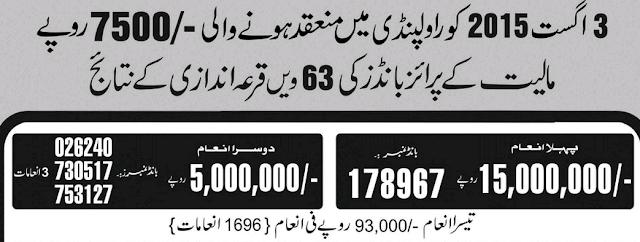 Draw Of Rs.7,500/- Prize Bond HELD at RAWALPINDI