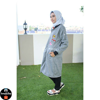 Sweater wanita Hijacket HJ TWISTONE CHARCOAL GRIB HITAM