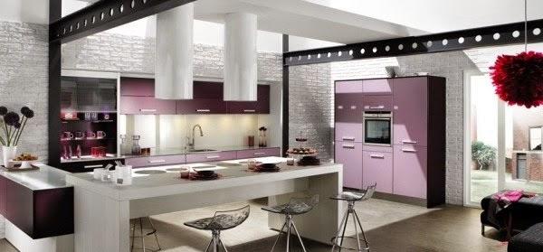 decoración cocina lila