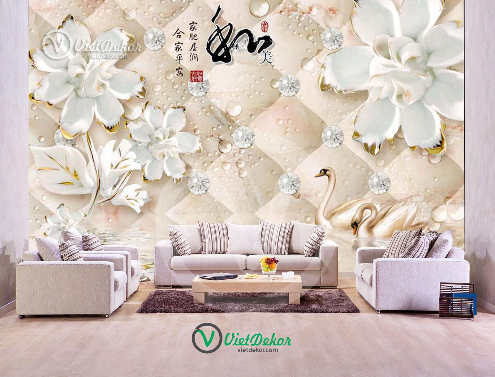Tranh dán tường 3d hoa bướm thiên nga ngọc trai trang sức