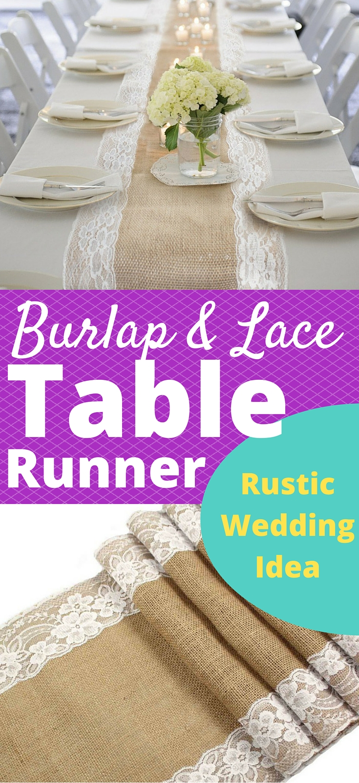 Burlap and Lace Rustic Wedding Reception Table Runner - This is a simple yet beautiful idea for the dining table decorations at a country or beach wedding. I love the floral pattern on the white lace. These runners will look great on a round or rectangular table, and they can definitely be saved and used as table decor at home! Also, you have to check out the matching silverware holder which will make your place settings look amazing!