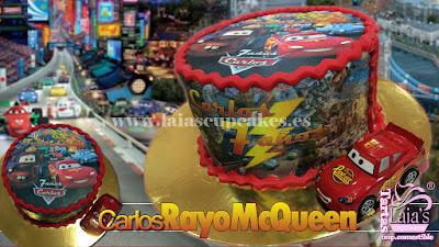 Tarta personalizada fondant impresión comestible rayo mcqueen cars Laia's Cupcakes Puerto Sagunto