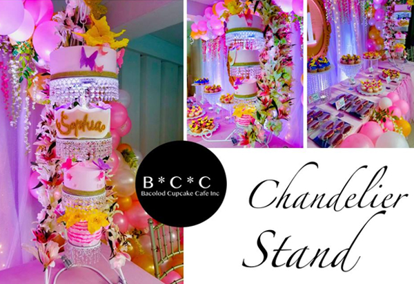 Bacolod Cupcake Cafe - birthday cake with a chandelier stand and dessert table