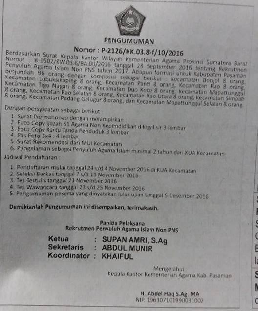Lowongan Kerja Kementerian Agama Provinsi Sumbar – S1 Agama Islam Non Kependidikan