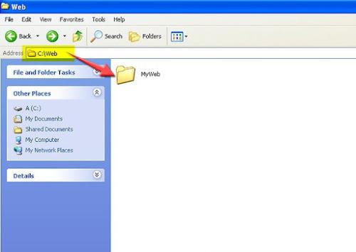 buat folder untuk file website anda