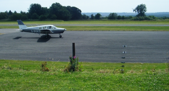 a light aircraft taking off