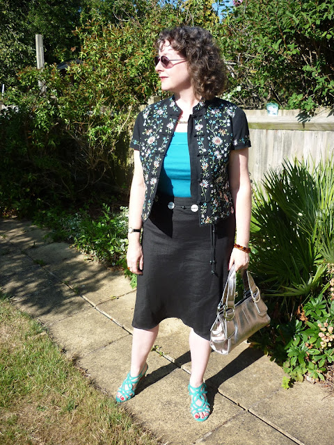 Embroidered Mandarin Jacket & Black Linen Skirt | PetiteSilverVixen