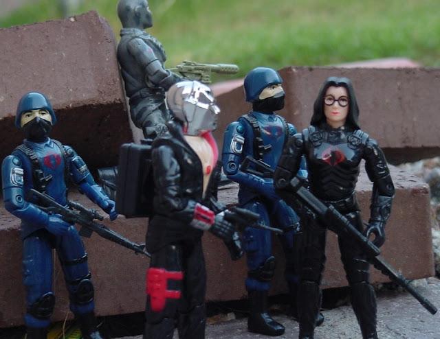 1984 Baroness, Wild Weasel, Rattler, 2004 Cobra Trooper, 1983 Destro, Cobra Trooper, Firefly