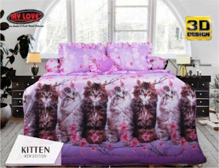 Sprei dan bed cover my love motif Kitten