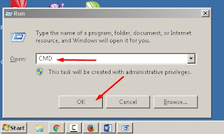 Membuka CMD melalui kombinasi tombol R + Logo Windows