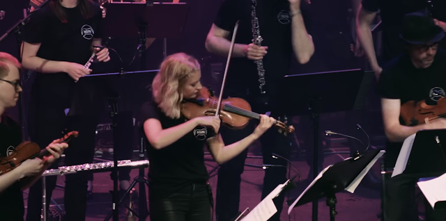 Screencap from video showing the Game Music Collective performing