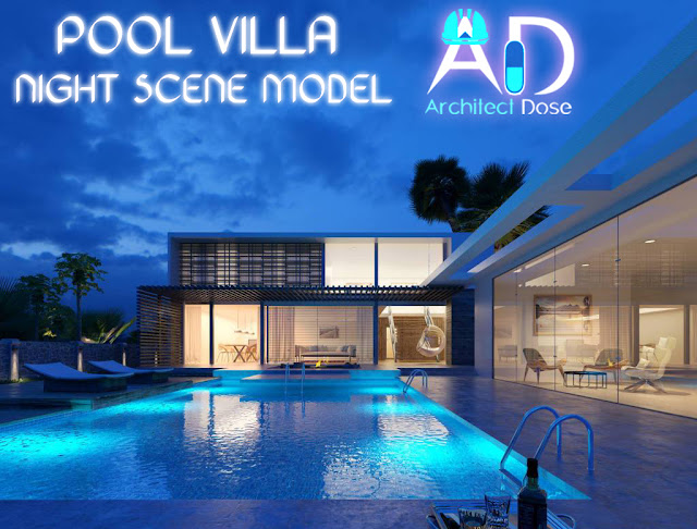 Pool Villa, Pool Villa Night Scene model, villa with pool, Villa, night scene, pool villas, house with pool