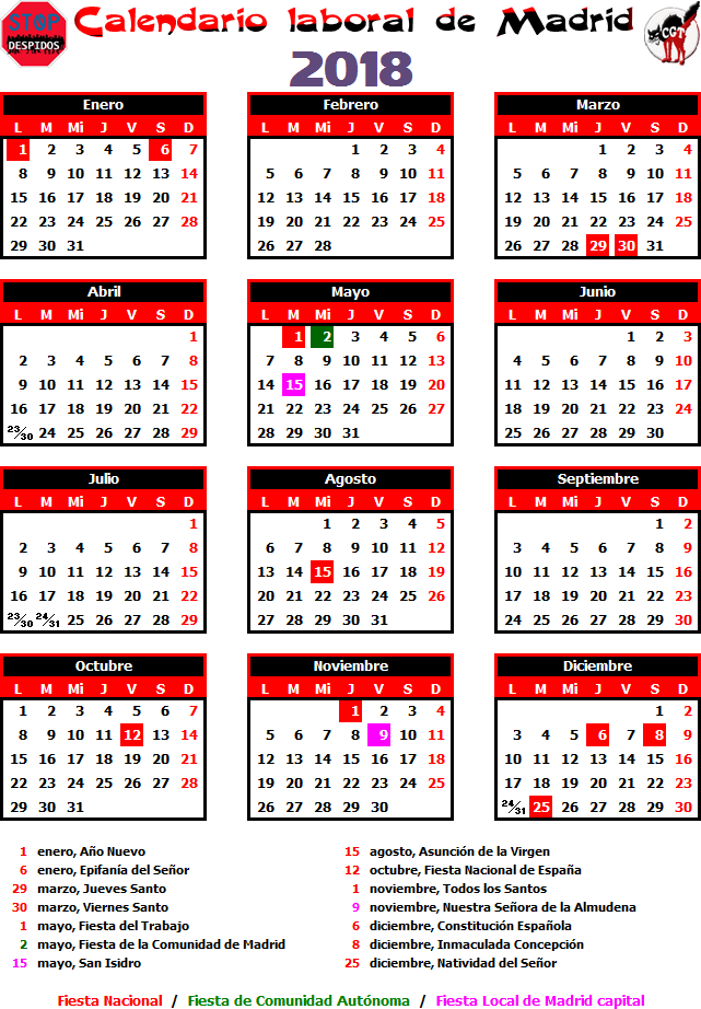 Gatos sindicales mad calendario laboral 2018 madrid for Calendario eventos madrid