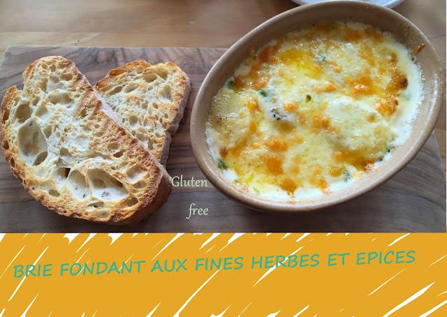 brie cuit au four, fines herbes, épices, crème fraîche (sans gluten)