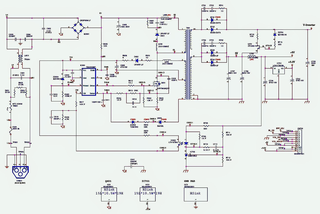 Smps Schematic Diagram John Deere Lawn Mower Ignition Switch Wiring Acer X203h Inverter Audio Circuit