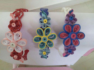 Flower quilling paper hair band designs - quillingpaperdesigns