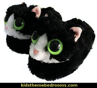 Fuzzy Winter Animal Cat Plush Soft Kitty Slippers  Pajamas - fun pajamas - family pajamas - sleepwear - fun slippers - novelty socks - cute socks - Girls Pajamas - Boys Pajamas - Christmas pajamas - fun boxers - animal shape slippers - cute novelty slippers - Holiday clothing - holiday traditions - Christmas socks - Mommy & Me pajamas - Christmas gifts - birthday gifts -