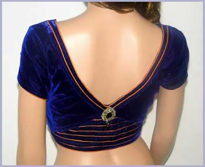 Deep V Neck Back Blouse Designs for saree