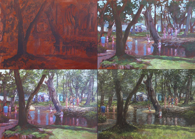 Martin Davey art Hampshire camp site kids fun WIP