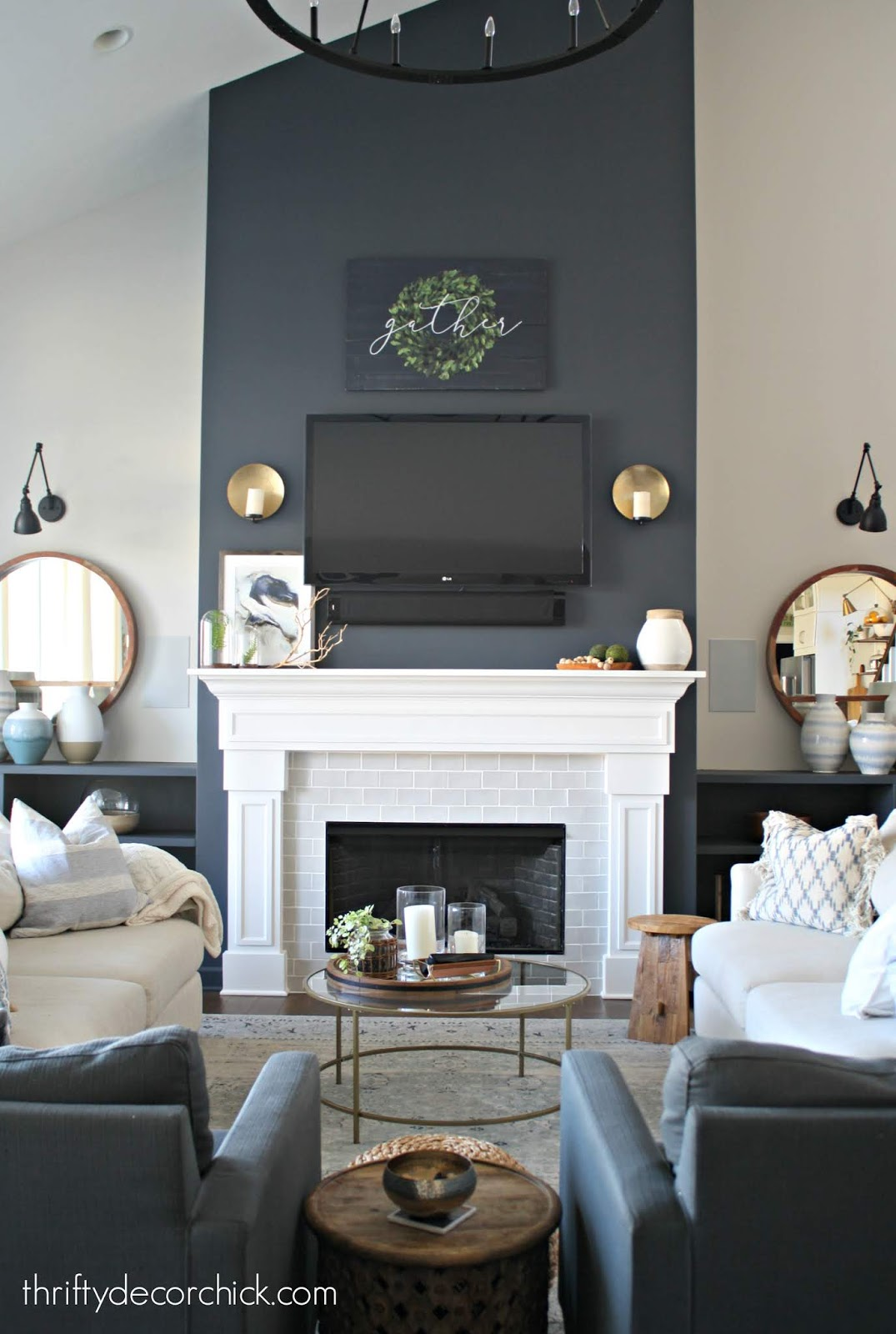 Symmetrical two sofa family room