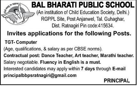 BBPS Bal Bharti Public School, Ratnagiri Recruitment 2019 TGT