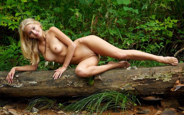 Девушка, голая, загар, тело, грудь, ножки, поза, лежит, дерево, трава, лес, природа