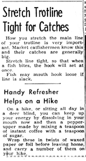 60s news clipping showing stupid tips for fishermen and hikers