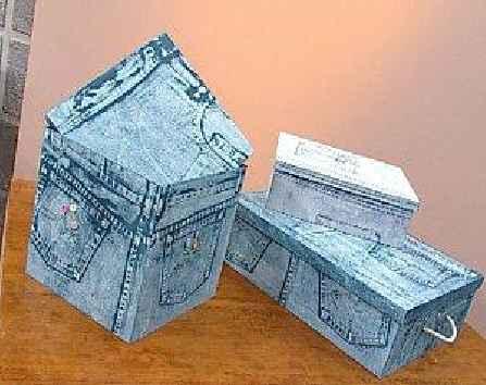 Cajas de madera forrada con con jeans