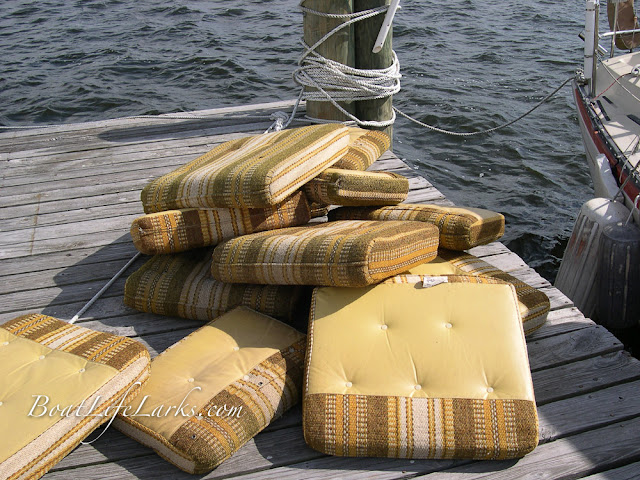 1970s boat cushions on the dock