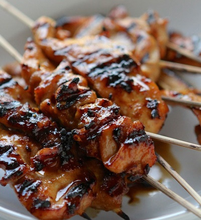 Grilled Asian Sweet & Spicy Chicken Skewers Over Brown Rice