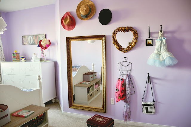 Girls bedroom DIY mirror and accessory wall