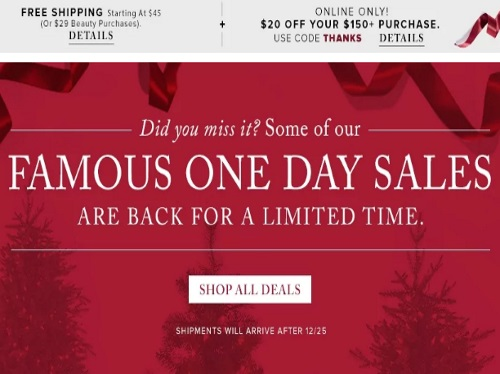 Hudson's Bay $20 Off $150 Purchase Promo Code