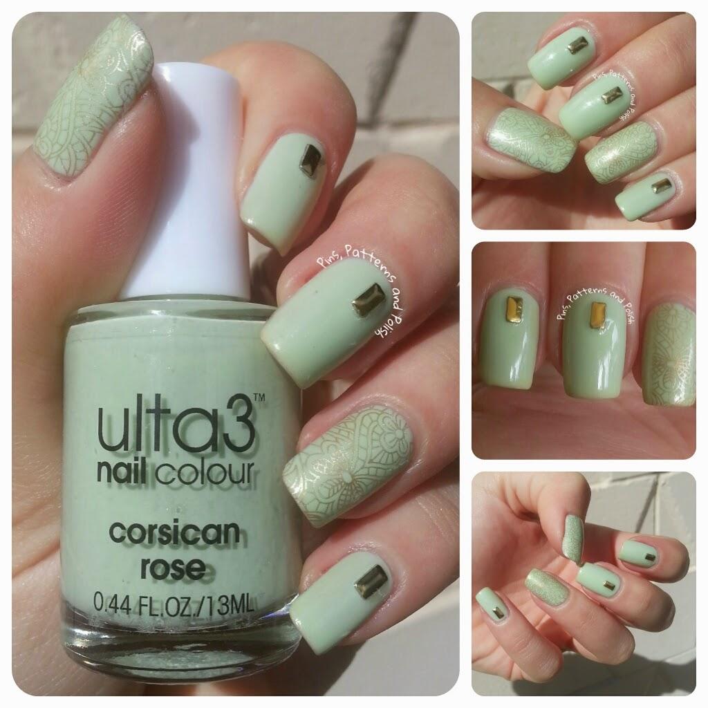 Pins, Patterns and Polish: Pastel Green and Gold Nails Feat