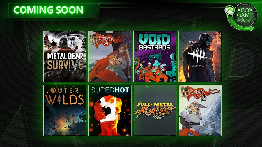 xbox game pass dead by daylight metal gear survive outer wilds superhot void bastards xb1 2019