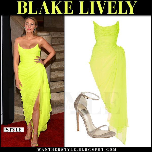 Blake Lively in neon yellow dress oscar de la renta at Spring Gala what she wore may 2017