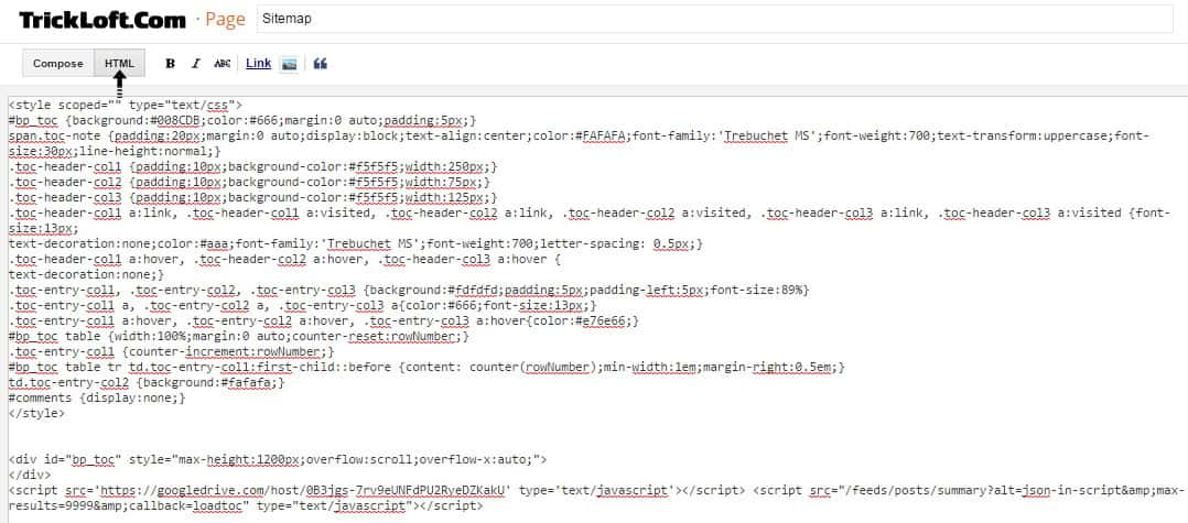 scroll able html sitemap code blogger