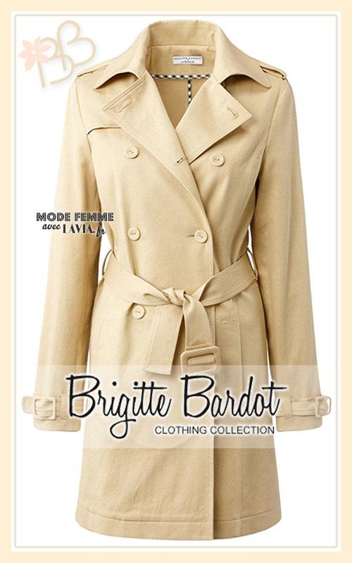 Trench beige Brigitte Bardote en coton