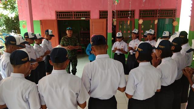 Maju Tingkat Kabupaten, Danramil Berikan Arahan Kepada Tim Lomba PBB dan TUB Dari SMP N 3 Maos