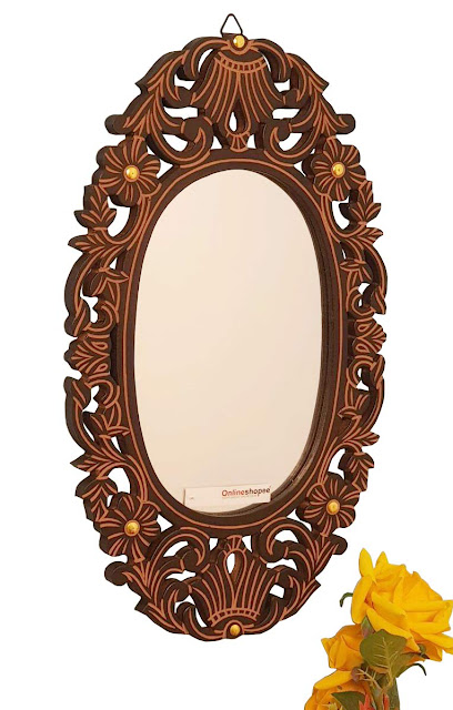 Onlineshoppee Antique with Handicraft Work Wood Mirror Frame (30 cm x 2 cm x 50 cm, Brown)