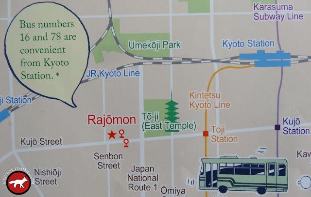 Plan pour se rendre à Rashômon au sud de Kyoto