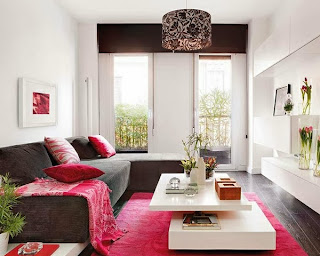 sala rosa y gris