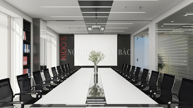 Đen và trắng là hai màu sắc chủ đạo của thiết kế nội thất phòng họp đẹp này, từ màu sắc đến chất liệu nội thất đều tạo nên sự hòa hợp đến không ngờ