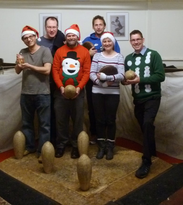 Lemony's Lobbers - 2014 Christmas 'Do' Champions. From l-r Jon Angel, Steve Gow, Alan Norman, John Moore, Emily Gottfried, Richard Gottfried at the Hampstead Lawn Billiard and Skittle Club