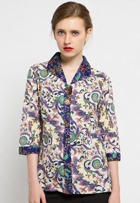 Model Baju Batik Atasan Kerja Wanita masa kini