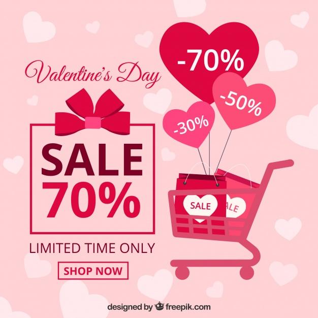 Flat valentine's day sale background Free Vector