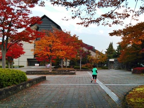 山形美術館前のスクエアの紅葉