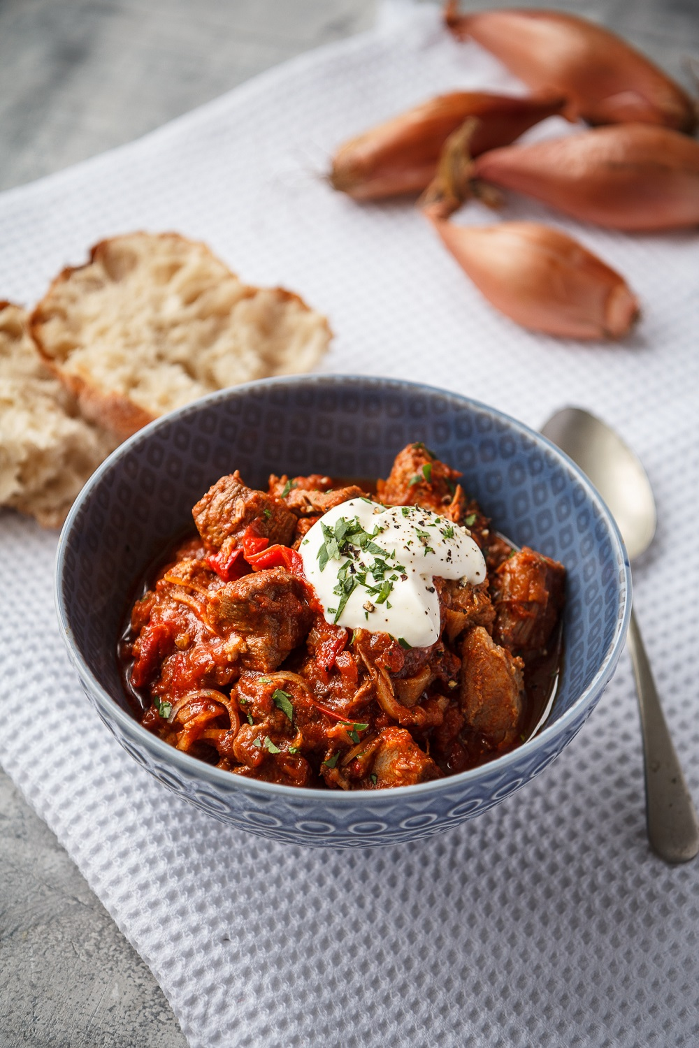 Slow Cooker Pork, Shallot, Red Pepper Goulash