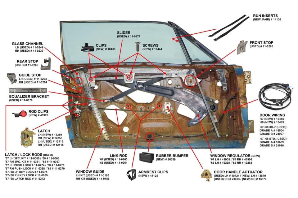 1968 mustang convertible restoration breaking down the doors 65 mustang alternator wiring diagram 65 mustang door glass diagram #6