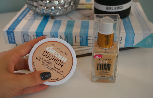 Maybelline dream cushion foundation and Covergirl vitalist elixir foundation